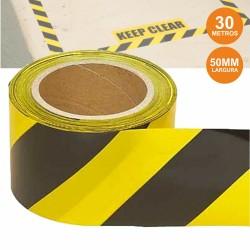 Fita Adesiva Sinalização Amarela/Preta 50mmx30m