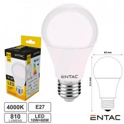 Lâmpada LED E27 Globo G60 10W 230V 4000k 810lm ENTAC