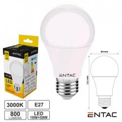 Lâmpada LED E27 Globo G60 10W 230V 3000k 800lm ENTAC