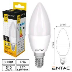 Lampada Led E14 Vela 6.5w 3000k 540lm 230v - Entac