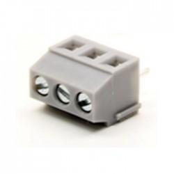 Bloco De 3 Terminais Com Parafuso (1.5MM²) 3.5MM Para PCB - Cinzento