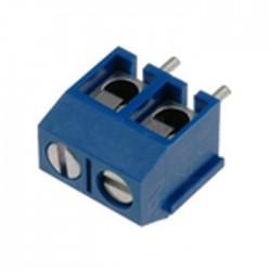 Bloco de 2 Terminais C/ Parafuso (1.5mm²) 5.0mm para PCB - Azul