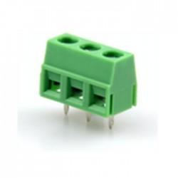 Bloco 3 Terminais C/ Parafuso (1.0mm²) 2.54mm P/ PCB - Verde