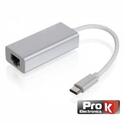 Cabo Adaptador USB Type-C 3.1/ RJ45 1Gbps PROK