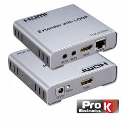 Receptor e Transmissor HDMI Via RJ45 CAT5/6 100M C/ IR PROK