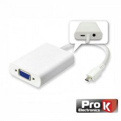 Cabo Adaptador USB Type-C 3.1 para VGA C/ Audio 1080p PROK