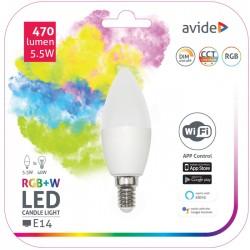 Lâmpada LED Vela E14 Dimável 470LM 5.5W RGB+W Wifi - Avide
