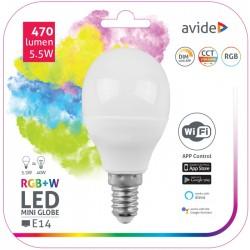 Lâmpada LED Mini Globo E14 Dimável 5.5W RGB+W Wifi 470LM - Avide