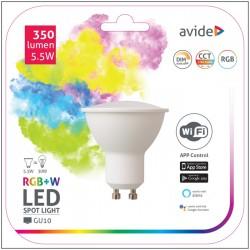 Lâmpada LED GU10 Dimável 350LM 5.5W RGB+W WIFI - Avide