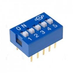 Interruptor Dip (DIP-switch) 5 Vias On-Off Azul