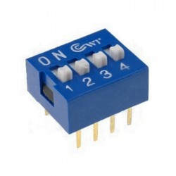 Interruptor Dip (DIP-switch) 4 Vias On-Off Azul