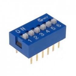 Interruptor Dip (DIP-switch) 6 Vias On-Off Azul