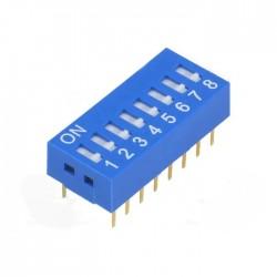 Interruptor Dip (DIP-switch) 8 Vias On-Off Azul