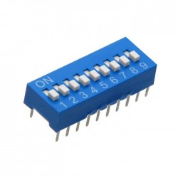 Interruptor Dip (DIP-switch) 9 Vias On-Off Azul