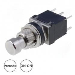 Interruptor Pressão ON-(ON) 250Vac 1A (6Pinos) Metálico