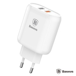 Alimentador 5v Compacto 2Usb Branco C/ Quick Charge 3.0 - Baseus