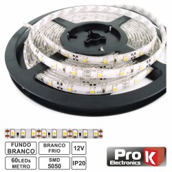 Fita C/ 300 LEDs 5050 12v 14.4 (72w) Branco Frio 5Mt- Prok