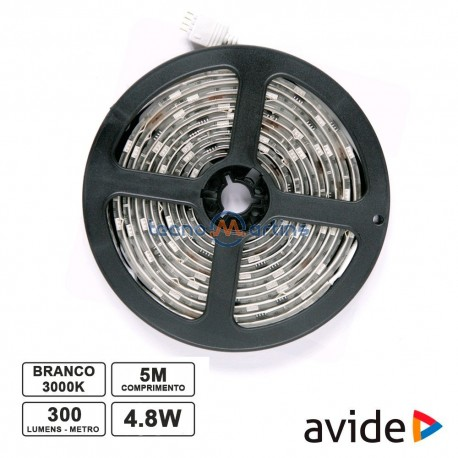 Fita C/ 300 LEDs SMD2835 IP65 12v 4.8W(24W) Branco Quente 5mt - Avide