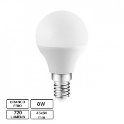 Lâmpada LED E14 G45 230V 8W 6500K (Branco Frio) 720lm