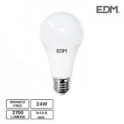 Lâmpada LED E27 24W 2700Lm 6400K Branco Frio - EDM