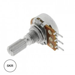 Potençiometro Linear 5kR 125mW C/ Veio Mono Metálico