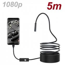 Câmara de Inspecção Visual (Boroscópio) 1080p Ø8mm USB de Cabo Semi-Rígido P/ Computador e Android - 5m