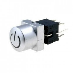 Interruptor Micro Pressão 2P Estáveis On-Off c/ Tecla Power + LED Vermelho 30vDc 0.1A