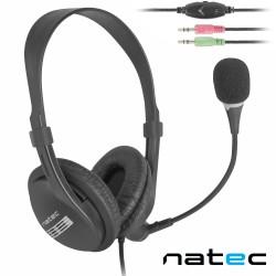Auscultadores Stereo c/ Fios + Microfone - Natec