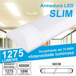 Armadura LED Batten Slim 18W 60cm IP20 4000K 1275lm