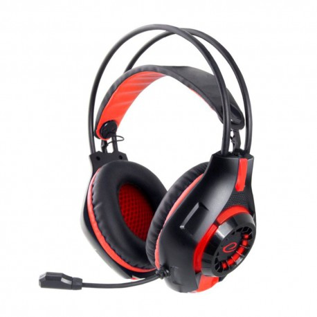 Auscultadores C/ Microfone (Headset) Gaming C/ Controlador Volume Preto / Vermelho - Esperanza