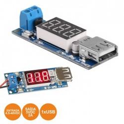 Placa Carregador USB c/ Indicador 4.5-40vDc P/ 5vDc 2A