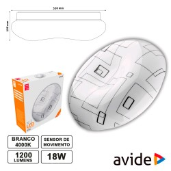 Aplique LED 18w 4000k 1200lm 330mm Redondo - Avide