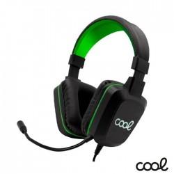 Auscultadores Gaming C/ Microfone + Iuminação RGB Preto/Verde - COOL