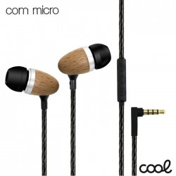 Auscultadores Jack 3.5mm Stereo C/ Microfone Madeira - COOL