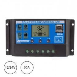 Controlador Carga Solar PWM Usb 12/24v Dc 30a C/ LCD