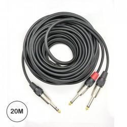Cabo Jack 6.35 Stereo Macho / 2x Jack 6.35 Mono Macho 20mt - EG