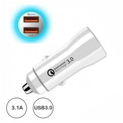 Ficha Isqueiro Adaptadora Quick Charges 3.0 2x USB 3.1a Branco