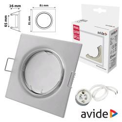 Aro Quadrado Ajustável Branco P/ MR16-GU10 - AVIDE