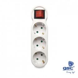 Ficha Tripla Ac 16a 250v 1M / 3F C/ Interruptor - GSC