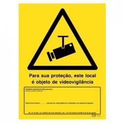 Placa Sinalização Fotoluminescente P/ Videovigilância (200x300mm)