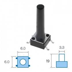 Interruptor miniatura 6x6x(19)mm SPST-NO 12VDC 50mA SMD 1.6N - NINIGI