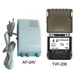 TESTE 2 - Amplificador de mastro para TDT portuguesa e TDT espanhola - 4 entradas + 1 saída 20..30dB - Manata TVF-508H/12V