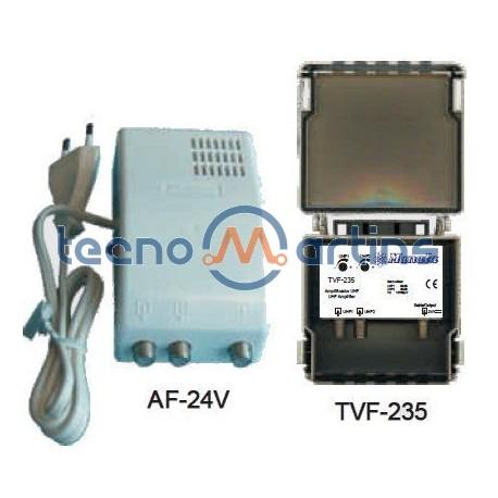 PTESTE 2 - Amplificador de mastro para TDT portuguesa e TDT espanhola - 4 entradas + 1 saída 20..30dB - Manata TVF-508H/12V