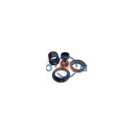 Suporte p/ lâmpada E27, todo roscado, com 2 anilhas - preto