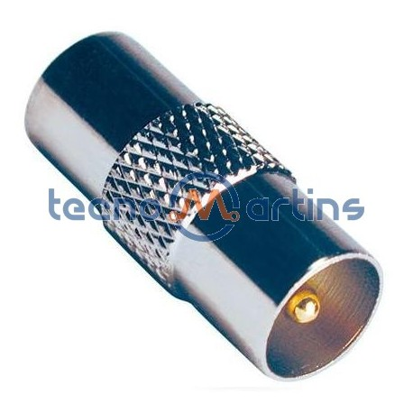 Ficha adaptadora coaxial macho / macho metal