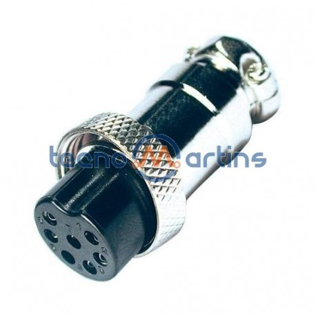 Ficha Microfone 7P Fêmea para Extensão