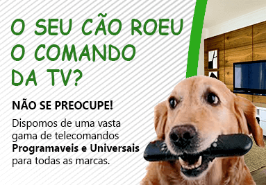 O seu cão roeu o comando da TV? Não se preocupe! Dispomos de uma vasta gama de telecomandos Programá